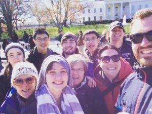Smiling students on mission trip to Washington D.C.